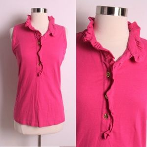 Tory Burch Hot Pink Lidia Ruffle Collar Tank Top